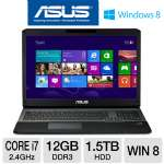 "ASUS G75VW-DH71 Laptop Computer - 3rd generation Intel Core i7-3630QM 2.4GHz, 12GB DDR3, 1.5TB HDD, DVDRW, 2GB NVIDIA GeForce GTX 660M, 17.3"" Full HD, Windows 8 64-bit"