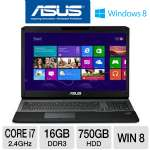 "ASUS G75VW-DH72 Laptop Computer - 3rd gen Intel Core i7-3630QM 2.4GHz, 16GB DDR3, 750GB HDD + 256GB SSD, Blu-ray Player/DVDRW, 3GB NVIDIA GeForce GTX 670M, 17.3"" Full HD, Windows 8 64-bit"
