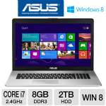 "ASUS N76VJ-DH71 Laptop Computer - 3rd generation Intel Core i7-3630QM 2.4GHz, 8GB DDR3, 2TB HDD, Blu-ray Player/DVDRW, 2GB NVIDIA GeForce GT 635M, 17.3"" Display, Windows 8 64-bit"