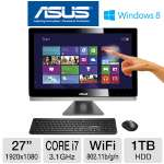 "Asus All-In-One PC - 3rd Gen. Intel Core i7-3770S 3.1GHz, 8GB DDR3, 1TB HDD, DVDRW/Blu-ray, 1GB NVIDIA GeForce GT 640M, 27"" Touchscreen, Windows 8 64-bit, Keyboard & Mouse, (ET2701INTI-B053K)"