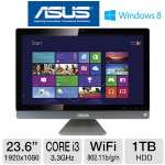 "Asus ET2411IUKI All-In-One PC - 3rd Generation Intel Core i3-3220 3.3GHz, 6GB DDR3, 1TB HDD, DVDRW, 23.6"" Display, Windows 8 64-bit, Keyboard & Mouse, (ET2411IUKI-B008K)"
