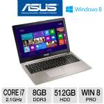 "ASUS UX51Vz-XH71 Ultrabook - 3rd generation Intel Core i7-3612QM 2.1GHz, 8GB DDR3, 512GB (2X 256GB) SSD, 15.6"" Full HD, Windows 8 Professional 64-bit, 1-Yr Warranty, 1-Yr Accidental"