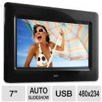 "Aluratek ADPF07SF 7"" Digital Photo Frame - 480 x 234, Auto Slideshow, SD/SDHC Cards, USB, Black"