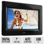 "Aluratek 7"" Digital Photo Frame - TFT LCD, 800 x 600, Auto Slideshow, Supports SD/SDHC Cards and USB's, JPEG, Black - ADPF07SF"