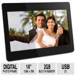 "Aluratek 14"" Digital Photo Frame - 2GB Built-in Internal Memory, SD Card Slot, USB, Black - ADMPF114F"