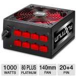 AZZA PSAZ-1000PT14 1000W Power Supply - 80+ Platinum, Cable Modular, 12 x SATA, 140mm Fan (PSAZ-1000PT14) 