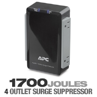 APC P4V Audio/Video Surge Protector - 4 Outlet, 120V, Coax Protection