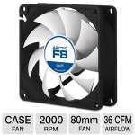ARCTIC F8 Case Fan - 80mm, 2,000 RPM, 12 V, 0.16 A, 22 dBA, Fluid Dynamic Bearing, With Standard Case (AFACO-08000-GBA01)