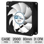 ARCTIC F8 PWM 80mm Case Fan - Fluid Dynamic Bearing, 850 ~ 2000 RPM, 31 CFM, 22 dBA, Rubber Mounts, Ninja-knife Impeller Design(AFACO-080P0-GBA01)
