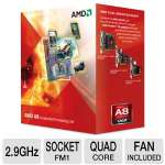 AMD A8-Series AD3850WNGXBOX Quad-Core A8-3850 APU - 4MB L2 Cache, 2.9GHz, Socket FM1, Radeon HD 6550D (400 Cores), Dual Graphics Ready, DirectX 11, Fan, Retail
