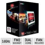AMD A6-Series AD540KOKHJBOX Dual-Core A6-5400K Black Edition APU - 1MB L2 Cache, 3.6GHz, Socket FM2, Radeon HD 7540D (192 Cores), Dual Graphics Ready, DirectX 11, Fan, Unlocked, Retail
