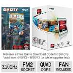 AMD A8-Series AD5500OKHJBOX Quad-Core A8-5500 APU - 4MB L2 Cache, 3.2GHz, Socket FM2, Radeon HD 7560D (256 Cores), Dual Graphics Ready, DirectX 11, Fan, Free SimCity Download Included
