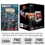 AMD A8-Series AD560KWOHJBOX Quad-Core A8-5600K Black Edition APU - 4MB L2 Cache, 3.6GHz, Socket FM2, Radeon HD 7560D (256 Cores), Dual Graphics Ready, DirectX 11, Fan, Free SimCity Download Included