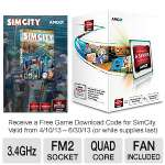 AMD A10-Series AD5700OKHJBOX Quad-Core A10-5700 APU - 4MB L2 Cache, 3.4GHz, Socket FM2, Radeon HD 7660D (384 Cores), Dual Graphics Ready, DirectX 11, Fan, Free SimCity Download Included