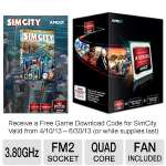 AMD A10-Series AD580KWOHJBOX Quad-Core A10-5800K Black Edition APU - 4MB L2 Cache, 3.8GHz, Socket FM2, Radeon HD 7660D, Dual Graphics Ready, DirectX 11, Fan, Free SimCity Download Included