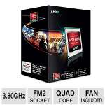 AMD A10-Series Quad-Core A10-5800K FM2 Black Edition APU - 3.8GHz, 4MB L2 Cache, Socket FM2, Radeon HD 7660D, Dual Graphics Ready, DirectX 11, Fan - AD580KWOHJBOX