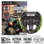 Activision Monster Jam 3: Path of Destruction Racing Video Game Bundle - PlayStation 3/PS3, Includes Gravedigger Custom Steering Wheel Controller, ESRB: E