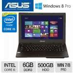 "ASUS P450CA 14"" Noteook PC - Intel� Core� i5 , 6GB Memory, 500GB HDD,1366 x 768 Resolution, Windows 7 Professional/Windows 8 Pro 64-Bit, Black - P450CA-XH51"