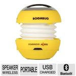 Axess Boombug Portable Speaker - Bluetooth, Wireless Streaming, 40mm Driver, 3.5mm Audio Jack, Built-In Rechargeable Battery, Yellow - SPBLT12-8