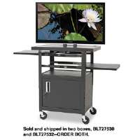 Height-Adjustable Flat Panel TV Cart, 4-Shelf, 270 lbs, 24 x 18 x 46, Black