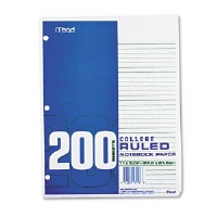 Economical 16-lb. Filler Paper, College Ruled, 11x8-1/2, WE, 200 Sheets/Pack