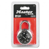 Combination Lock, Stainless Steel, 1-7/8&quot; Wide, Black Dial