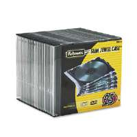 Fellowes NEATO CD/DVD Slim Jewel Case - Capacity: 1 x CD/DVD, Clear, Pack of 25 - 98316