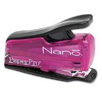 Nano Miniature Stapler, 12-Sheet Capacity, Translucent Pink