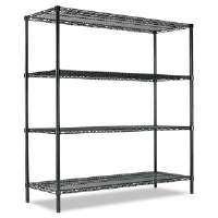 All-Purpose Wire Shelving Starter Kit, 4 Shelves, 60w x 18d x 72h, Green