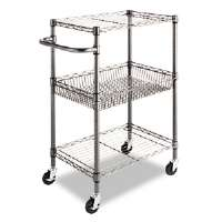 Three-Tier Wire Rolling Cart, 16w x 24d x 39h, Black Anthracite