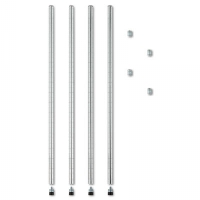 Stackable Posts For Wire Shelving, 36&quot; High, Silver, 4/Pack