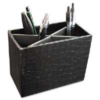 ProFormance Crocodile Embossed Pencil Cup, 5 3/8 x 2 x 4 1/8, Black