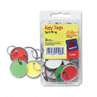 Metal Rim Key Tags, Card Stock/Metal, 1 1/4&quot; Diameter, Assorted Colors, 50/Pack