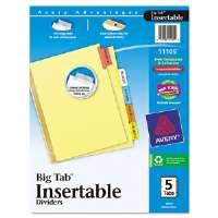 WorkSaver Big Tab Reinforced Dividers, Multicolor Tabs, 5-Tab, Letter, Buff