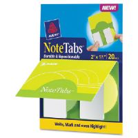 NoteTabs-Notes, Tabs and Flags in One, Citrus Yellow, Green, Two Inch, 20/PK
