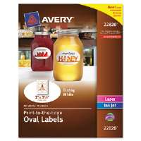 Oval Easy Peel Labels, 2 x 3-1/3, Glossy White, 80/Pack
