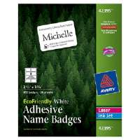 EcoFriendly Name Badge Labels, 2-1/3 x 3-3/8, White, 160/Box