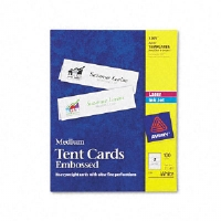 Tent Cards, White, 2 1/2 x 8 1/2, 2 Cards/Sheet, 100 Cards/Box