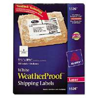 White Weatherproof Laser Shipping Labels, 5-1/2 x 8-1/2, 100/Pack