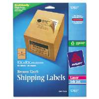 Brown Kraft Shipping Labels, 5 1/2 x 8 1/2, 50/Pack