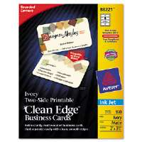 Clean Edge Inkjet Business Cards, Ivory, Round Edge, 2 x 3 1/2, 160 cards/PK
