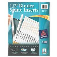 Custom Binder Spine Inserts, 1/2&quot; Spine Width, 16 Inserts/Sheet, 5 Sheets/Pack