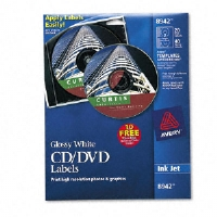 Inkjet CD/DVD Labels, Glossy White, 20/Pack