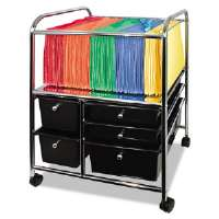 Letter/Legal File Cart W/ 5 Storage Drawers, 15-1/4w x 21-7/8d x 28-7/8h, Black