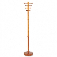 Costumer, Four Ball-Tipped Double-Hooks, Wood, Medium Cherry