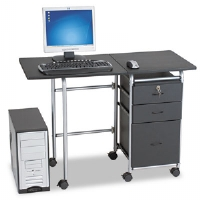 Fold-N-Stow Workstation, 41-3/4w x 19-7/8d x 29-3/4h, Black/Silver
