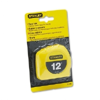 "Power Return Tape Measure w/Belt Clip, 1/2""w x 12ft, Yellow"