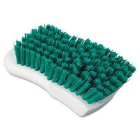 "Green Polypropylene Bristle Scrub Brush, 6"", White Handle"