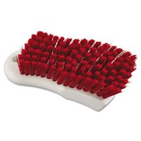 "Red Polypropylene Bristle Scrub Brush, 6"", White Handle"