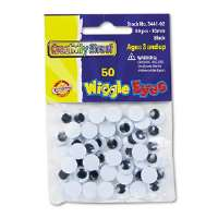 Round Black Wiggle Eyes, 10mm, Black, 50/Pack